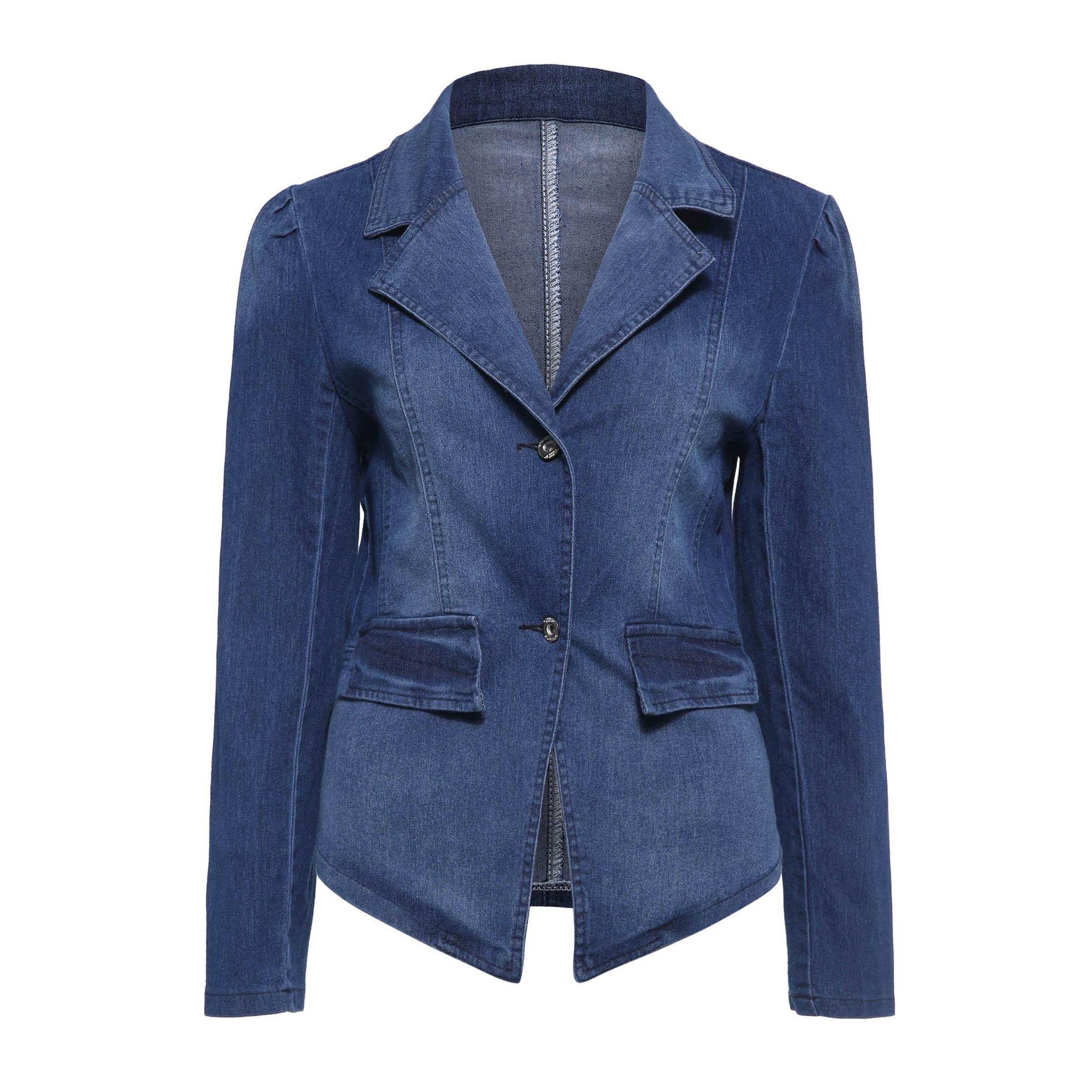 Jaqueta de lapela fina denim feminino 2019 moda casual feminino senhoras jaquetas topos street wear coats gótico punk outwears
