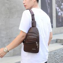 Men Zipper Solid Waist Bag Leather Shoulder Bags Chest Fashion Casual Sports 9.23