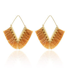 2019 New Drop Earrings Geometric V-shaped Colorful Metal Ethnic Bohemian Luxury Women's Jewelry For Christmas Earrings Gifts(China)