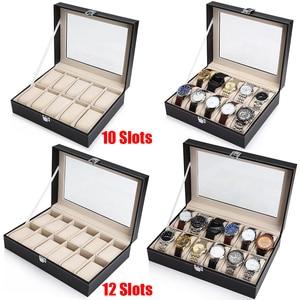 Image 1 - 10 12 Slot Watch Box Storage Watch Box PU Leather Watches Display Case Jewelry Boxes Watches Organizer Glass Top Watch Holder