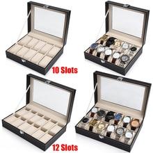 10 12 Slot Watch pudełko do przechowywania zegarek Box PU skóra wystawka do prezentacji zegarków skrzynki pudełka na biżuterię zegarki organizator szklanym wieczkiem uchwyt na zegarek