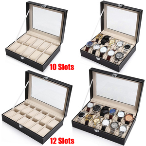Image 1 - 10 12 חריץ שעון תיבת אחסון תיבת שעון עור מפוצל שעונים תצוגת מקרה תכשיטי קופסות שעונים ארגונית זכוכית למעלה שעון בעל