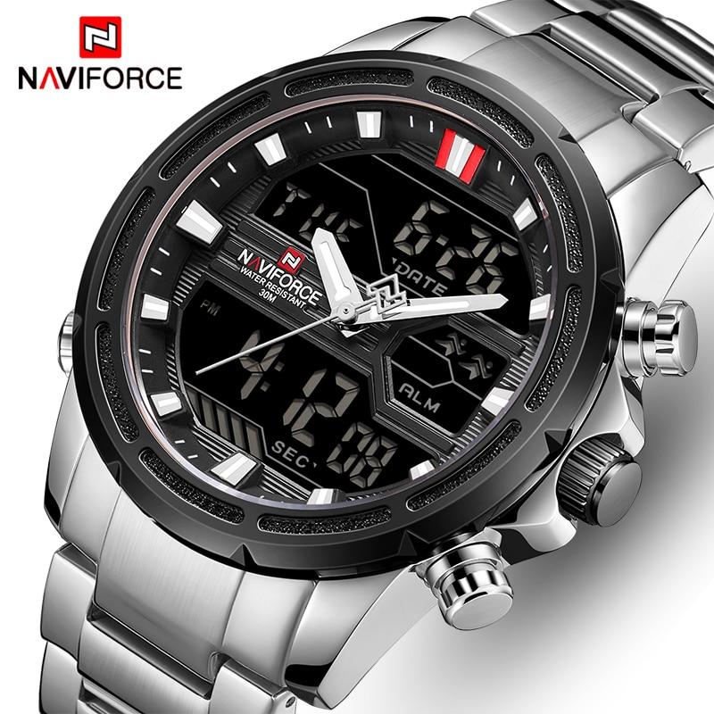 NAVIFORCE Watches for Men Luxury Brand Sport Quartz Wristwatch Waterproof Military Digital Male Clock Steel Relogio Masculino