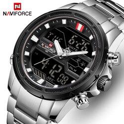 NAVIFORCE zegarki dla mężczyzn luksusowej marki sportowy zegarek na rękę kwarcowy wodoodporny wojskowy cyfrowy mężczyzna zegar ze stali Relogio Masculino