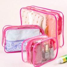 Cosmetic Bags Women Clear Zipper PVC Transparent Makeup Bags Travel Storage Organizer Bath Wash Make Up Tote Case
