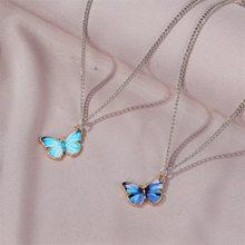 Colar com pingente de borboleta, gargantilha acessório de joias para mulheres, colar vintage de casamento, azul roxo, 2020