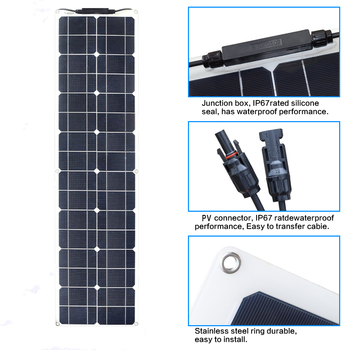 XINPUGUANG  PET flexible Solar Panel 50w 1060 solar Cell charger 12v MonocryStalline Module car Battery RV boat outdoor home kit 4