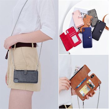 For iPhone 11 Pro Max X XS XR 6S 7 8 Plus SE 2020 Card Holder Zipper Wallet Pocket Long Chain Crossbody Phone Case Shoulder Bag
