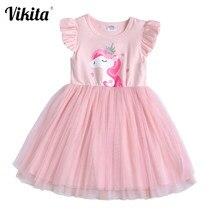 VIKITA Toddlers yaz elbiseler kızlar pembe Tutu elbise çocuk doğum günü partisi düğün kostümleri kızlar Unicorn kelebek elbise