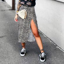 2020 Fashion Women Skirt Cross Border Ladies Leopard Print Skirts High Waist Elastic Split Midi A  line Skirt Dropshipping