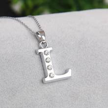 2019 New Letter L Glittering and charming Crystal initials Necklace for mother daughter sister aunt birthday gifts(China)