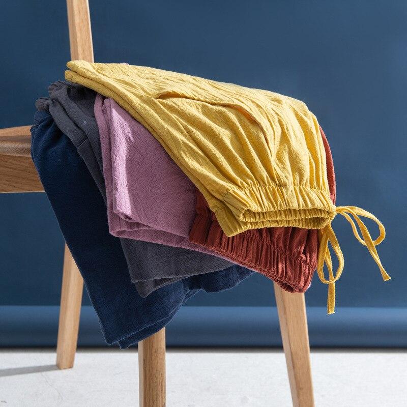New Women Shorts Summer Casual Solid Cotton Linen High Waist Shorts Loose Shorts For Girls Soft Wide Leg L Women Short S-XL