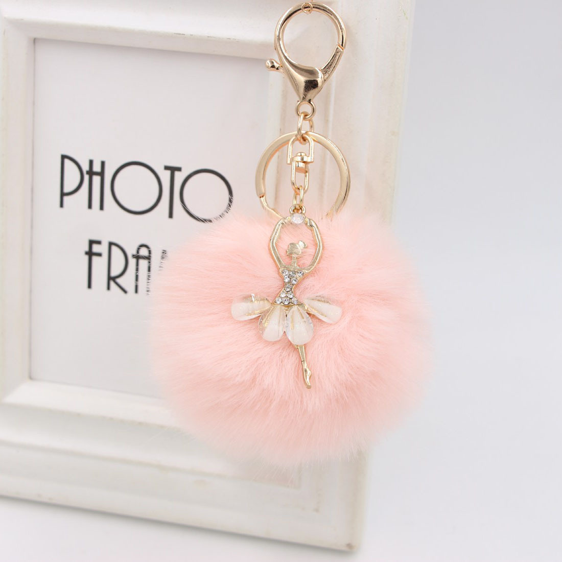 Crystal Ballet Dancing Girl Keyring Pompom Angel Fluffy Plush Pendants Keychains  Car Bag Jewelry Birthdaygifts Valentine's Day