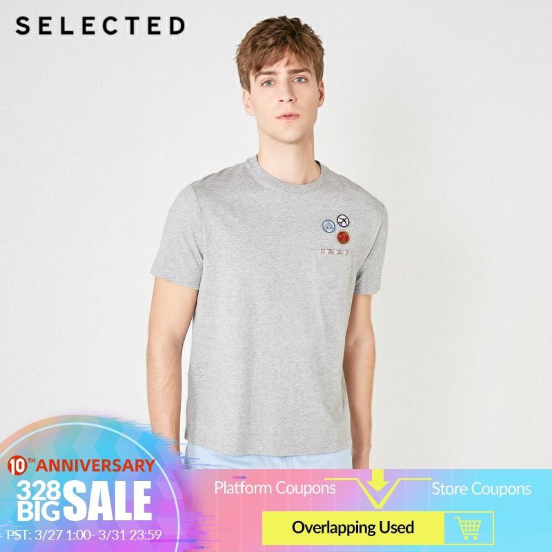 SELECTED Men's Embroidered Drop-shoulder Short-sleeved T-shirt S|419201625