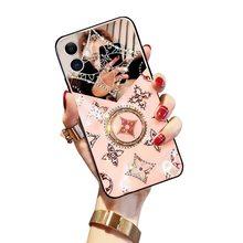 Original de luxe diamant bague béquille antichoc pour iphone 12 pro max 11 x xr xsmax 7 8plus étui