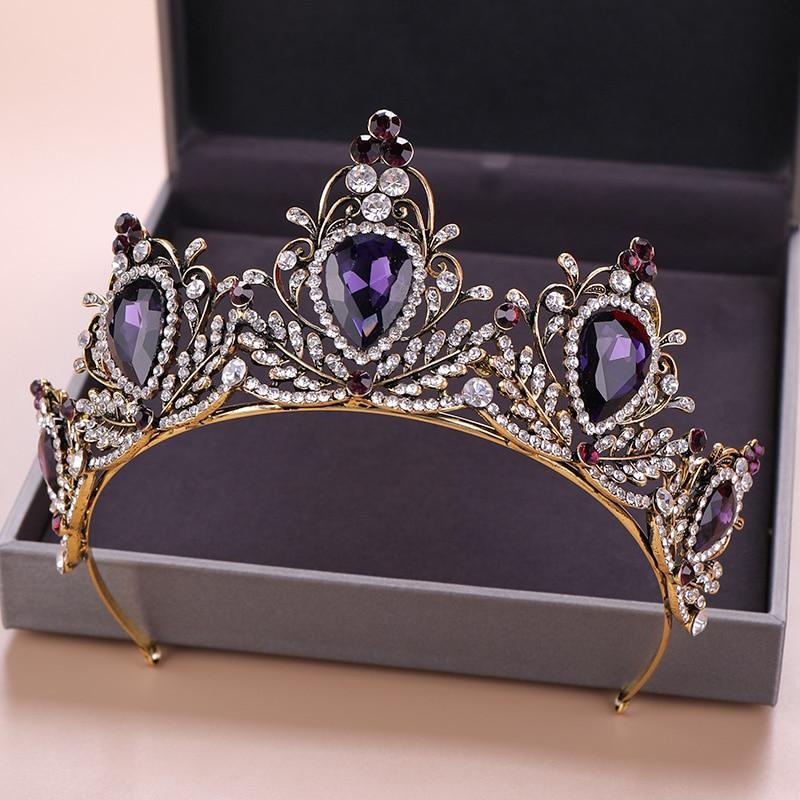 Corona-de-cristal-p-rpura-profunda-Vintage-para-mujeres-reina-princesa-diamantes-de-imitaci-n-diadema