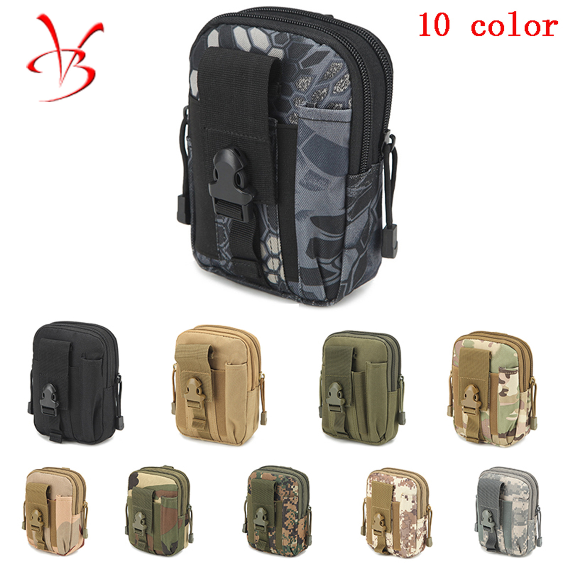 Foreign Trade Hot Selling Molle Sports Waist Pack Men's Outdoor Tactical Waist Pack Camouflage Running 67-Inch Accessories Mobil