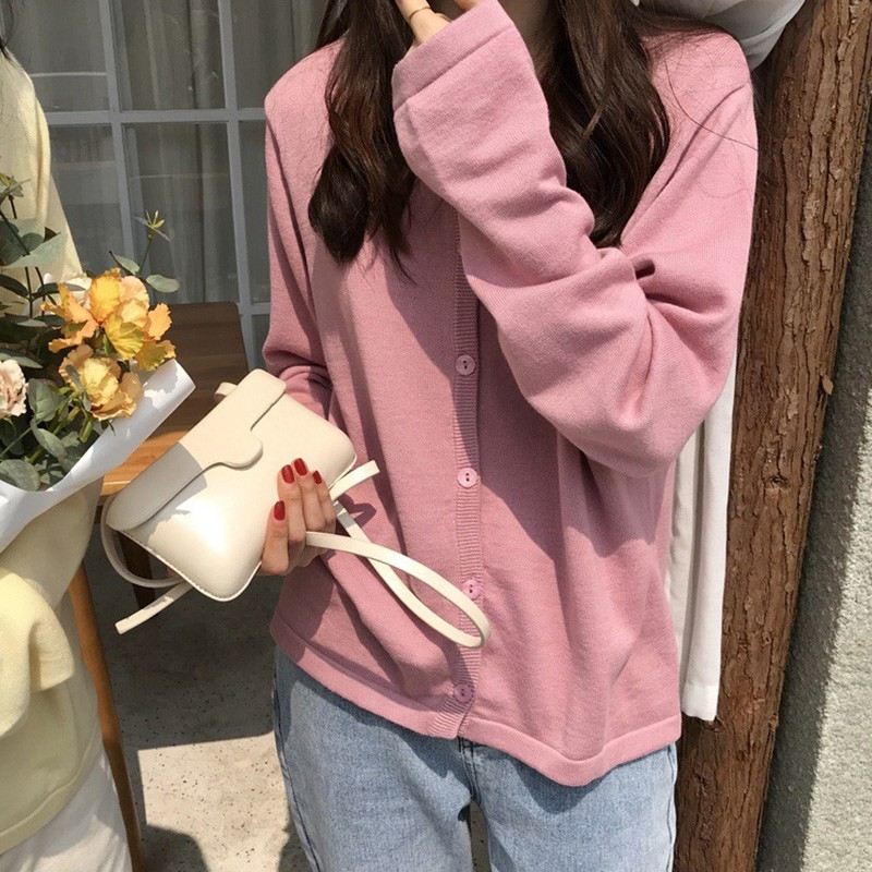 Autumn Women Knitted Cotton Sweater Fashion Cardigans Female Loose Thin Solid Color O Neck Long Sleeve Cardigan Sweaters