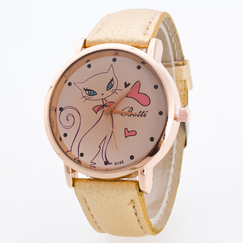 Hesiod Brand New Pure Color All Kinds Of Cats Watch For Women Leather Band Wristwatch Wholesale