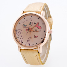 Hesiod Brand New Pure Color All Kinds of Cats Watch for Women Leather Band Wrist