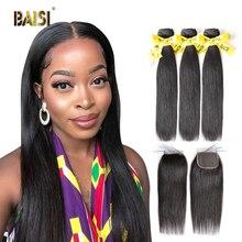 Baisi cabelo peruano virgem em linha reta tecer 3 pacotes com 4x4 encerramento 100% extensões de cabelo humano comprimento longo frete grátis