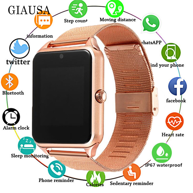 2019 <font><b>Smart</b></font> <font><b>Watch</b></font> <font><b>GT08</b></font> <font><b>Plus</b></font> <font><b>Metal</b></font> Clock with Sim Card Slot Push Message Bluetooth Connectivity Android IOS Phone Smartwatch PK S8 image