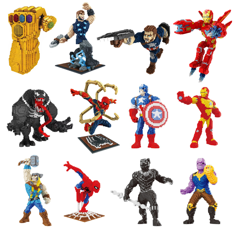 Building Star Marvel Avengers Spider Man Thor Captain America Venom Thanos Iron Man Hero Diamond Mini Building Small Blocks Toy