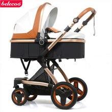Belecoo детская коляска 2 в 1 из эко кожи с высоким ландшафтом