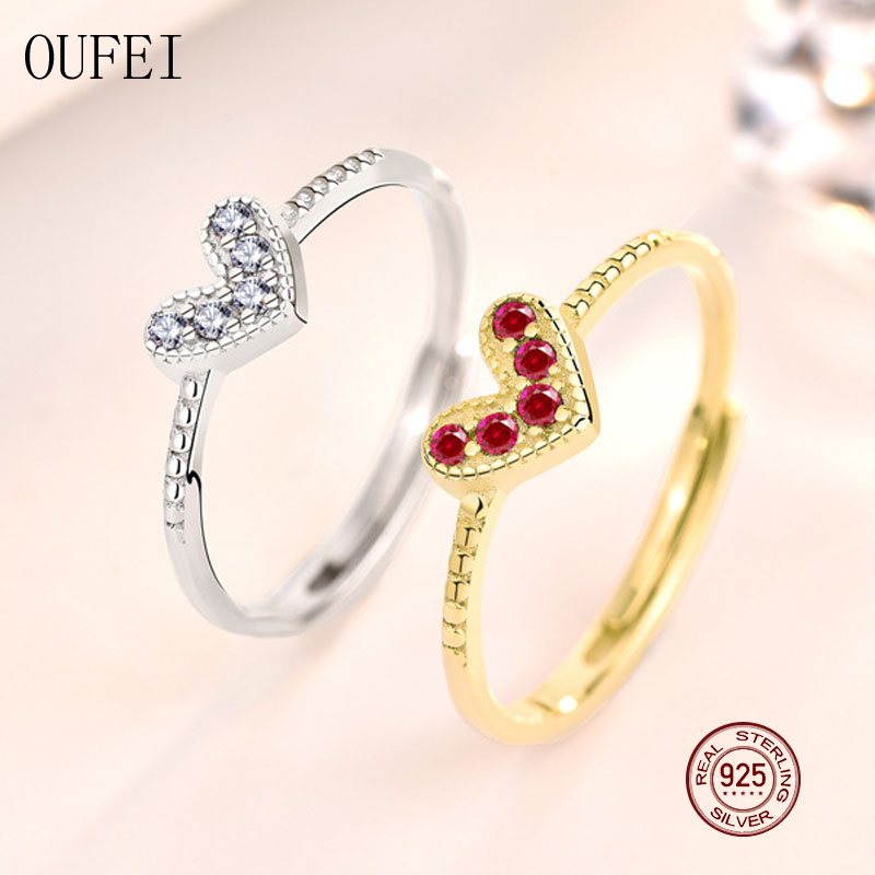 OUFEI 925 Sterling Silver Ring For Women Heart Rings Gold Colour Korea Fine Simple Rings Red Heart Corundum 2020 New Jewelry