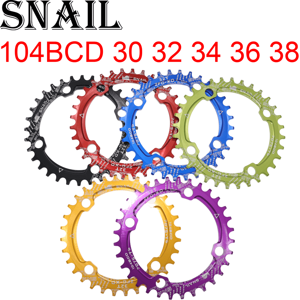 SNAIL Chainring 104 BCD Round 30t <font><b>32t</b></font> 34t 36t 38t Tooth <font><b>Narrow</b></font> <font><b>Wide</b></font> Ultralight Tooth Plate MTB Mountain Bike 104BCD Chain Wheel image