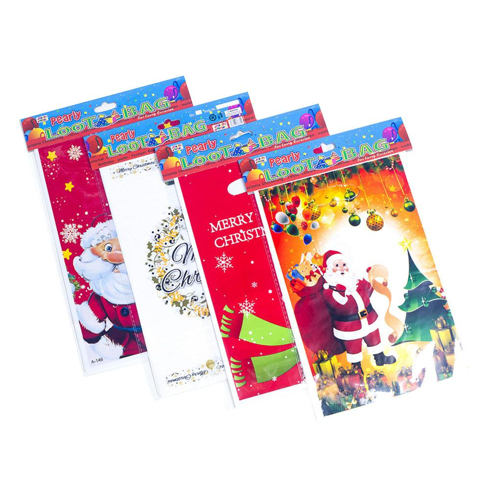 10PCS Christmas Gift Candy Bag Santa Garland Cartoon Pattern Disposable Tote Christmas Bag Christmas Decorations For Home in Stockings Gift Holders from Home Garden