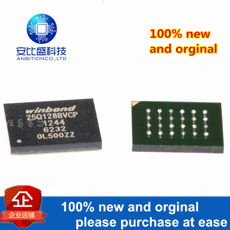 1pcs 100% New And Orginal W25Q128BVCIP Silk-screen 25Q128BVCP W25Q128 128Mbit BGA In Stock