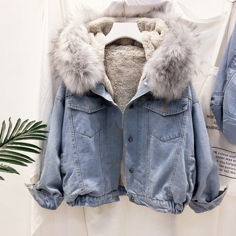 Women Hooded Denim Jacket Long Sleeve Female Faux Fur Collar Jeans Jacket Warm Plus Velvet Denim Coat Student Casual Outwear