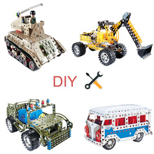 DIY Toys For Metal Jeep tank Engineering vehicle assembly car intelligence Educational Children Kid Gift