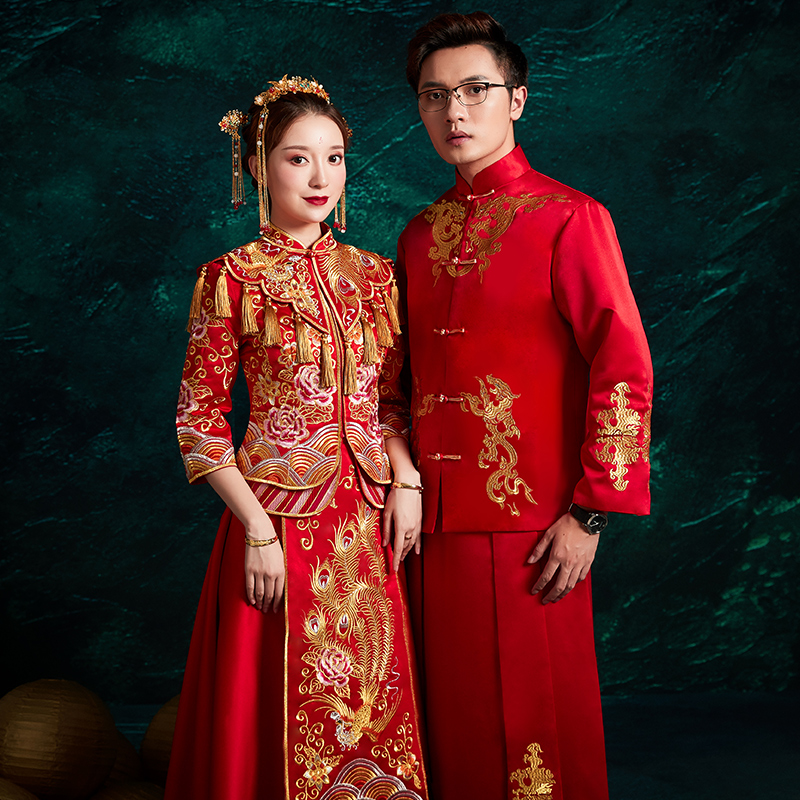 Lovers Tang Suit Marriage Dress Vestidso Wedding Dress Exquisite Embroidery Elegant Bride Dragon And Phoenix Toast Clothing