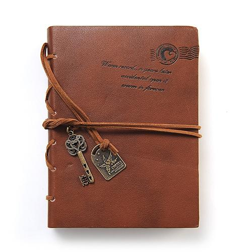 Vintage Style Key Decor Faux Leather Cover Blank Diary Journal Agenda Notebook