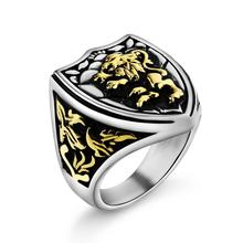 Valily Jewelry Gold Color Retro Vintage Lion Ring Unique  Royal King Animal ring ,stainless steel fashion finger for men