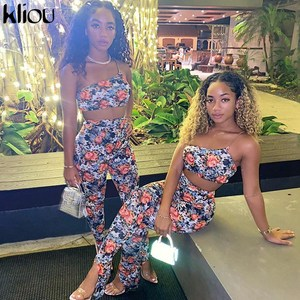 Kliou Printed Sexy Hot Clubwear Two Piece Sets Women 2020 Skinny Sleeveless Outfits Slim Halter Crop Top And Pants Co-ord Set