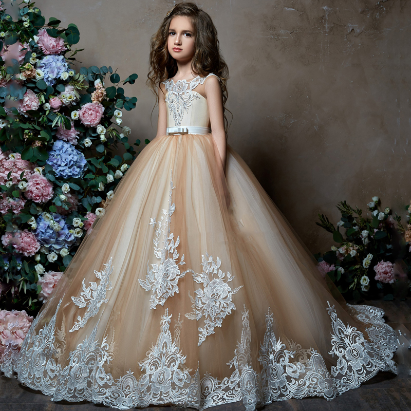 Hot 2019   Flower     Girl     Dresses   For Weddings Ball Gown Tulle Appliques Lace Beaded Long First Communion   Dresses   Little   Girl