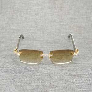 Image 2 - ラインストーン黒白水牛ホーンリムレスサングラス男性天然木サングラスレトロシェード Oculos 眼鏡クラブ夏