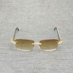 Image 2 - 라인 석 블랙 화이트 버팔로 경적 무테 선글라스 남자 천연 나무 태양 안경 레트로 그늘 oculos 안경 클럽 여름