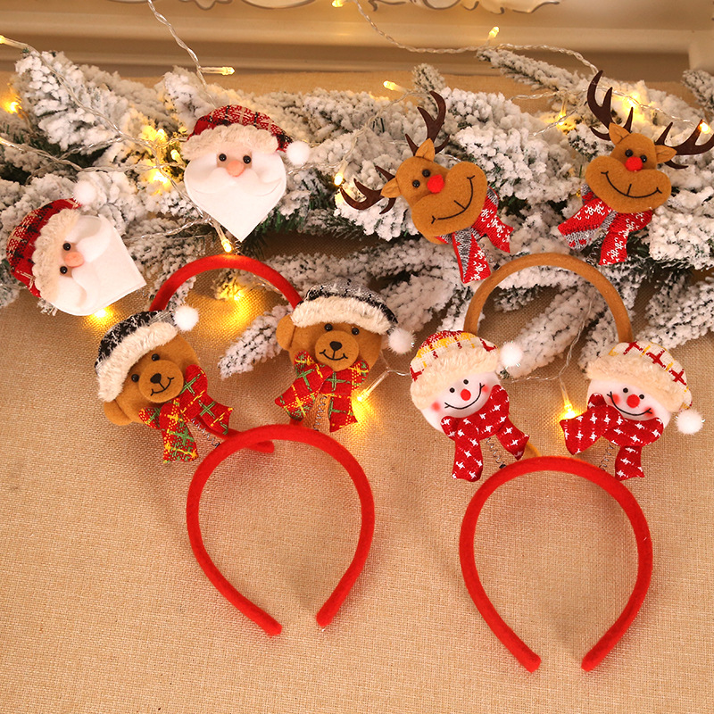 New Arrival Christmas Cartoon Old Man Snowman Elk Bear Hair Bands For Women Cute Girls Children Hair Accessories Gift