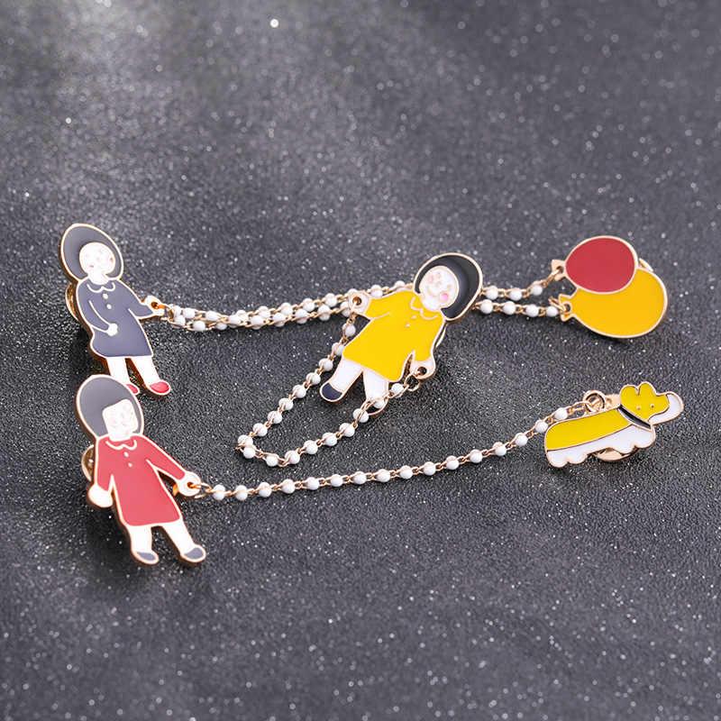 موضة الطفر حبل فتاة دبابيس دبابيس فتاة صغيرة مع بالونات دبوس أحمر أصفر المينا دبوس سلسلة بروش شارة الفتيات