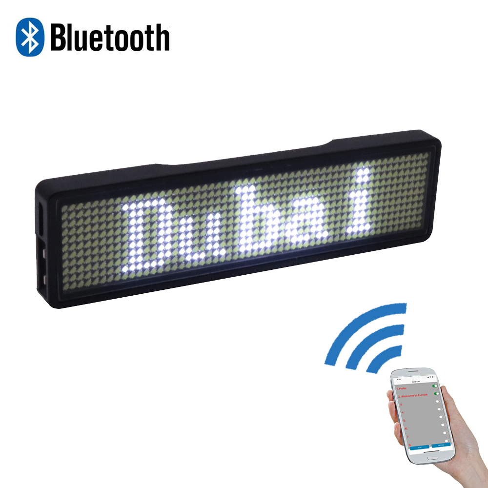 Bluetooth digital LED badge DIY programmable scrolling message mini LED display party event  clear 11*55 pixels LED name sign