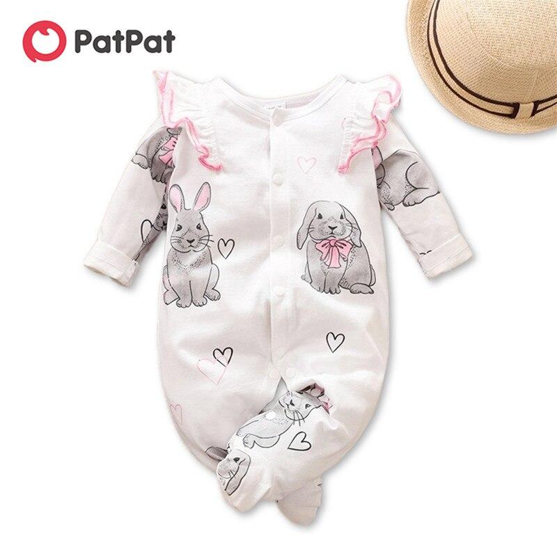 PatPat/Новинка 2020 года; Сезон весна осень; Комбинезон с длинными рукавами и принтом кролика для маленьких девочек; Одежда для малышей|Комбинезоны| | АлиЭкспресс