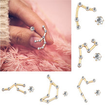 IF YOU Crystal Zircon 12 Zodiac Constellation Stud Earrings For Women Fashion Irregular Vintage Earrings Jewelry Gifts 2019 New(China)