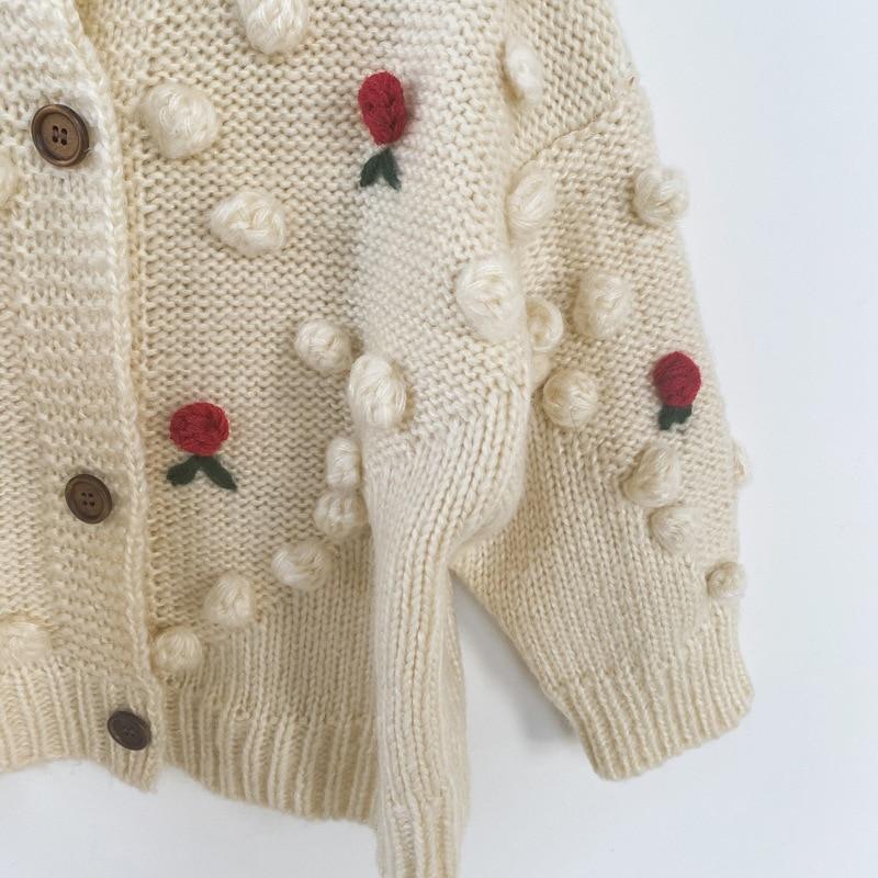 Autumn Winter Baby Girls Flower Knitted Cardigan Sweaters Coat Children Clothing Kids Handmade Wool Ball Cardigan Coat Tops 5