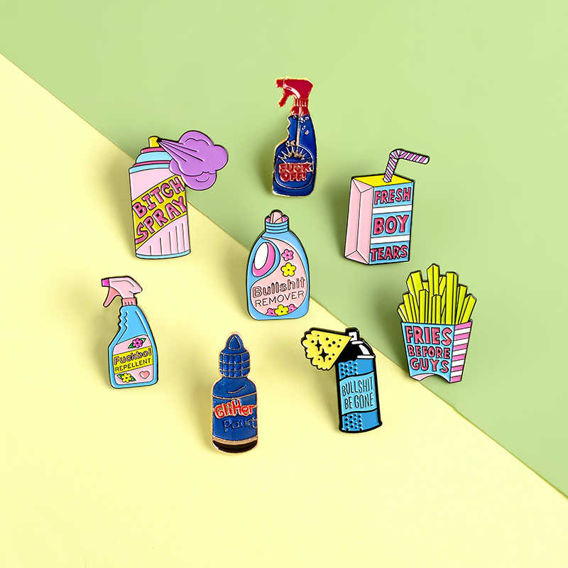Remove Bullshit Spray Enamel Pins Clean Tool Funny Fashion Brooches Badges Bag Clothes Lapel Pins Jewelry Gifts For Friends