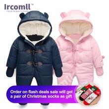 Lrcoml manter grosso quente infantil macacão roupas de inverno do bebê recém nascido menino menina macacão com capuz criança outerwear para 0 24m