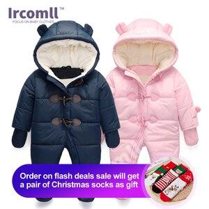 Image 1 - Lrcoml לשמור עבה חם תינוקות תינוק rompers חורף בגדי יילוד תינוק ילד הילדה Romper סרבל ברדס ילד הלבשה עליונה עבור 0 24M